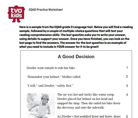eqao grade 3 worksheet sle reading question from