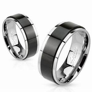 mens or womens black spinner steel from zanbellas on etsy With spinner wedding ring sets