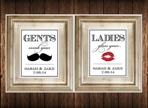 His And Hers Bathroom Signs by Set Of 2 Bathroom Signs Customized Ladies Amp By