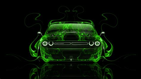 dodge challenger muscle front fire abstract car  el tony