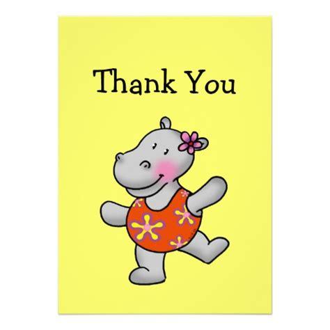 "Funny hippo thank you cards 5"" x 7"" invitation card   Zazzle"
