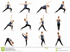 Fitness Woman In Various Standing Yoga Poses Stock Photo ...