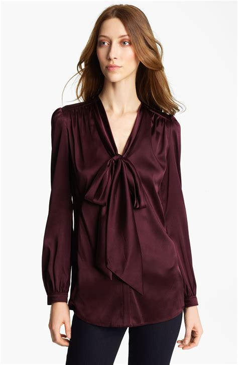 tie neck blouses burberry tie neck satin blouse in purple elderberry lyst