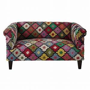 canape 2 3 places en tressage kilim multicolore canapes With tapis kilim avec canapé 2 places tissu pas cher