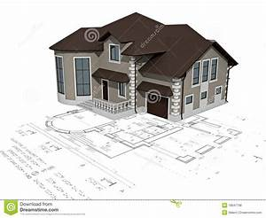 The House 3d Image On The Plan Stock Illustration