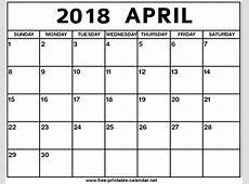 April 2018 Calendar Print Calendar from Freeprintable