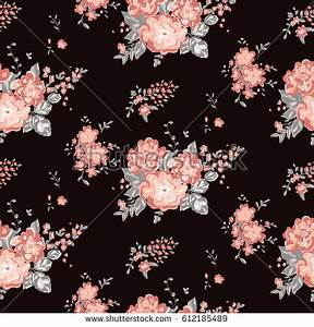 Wallpaper Seamless Vintage Flower Pattern On Stock Vector