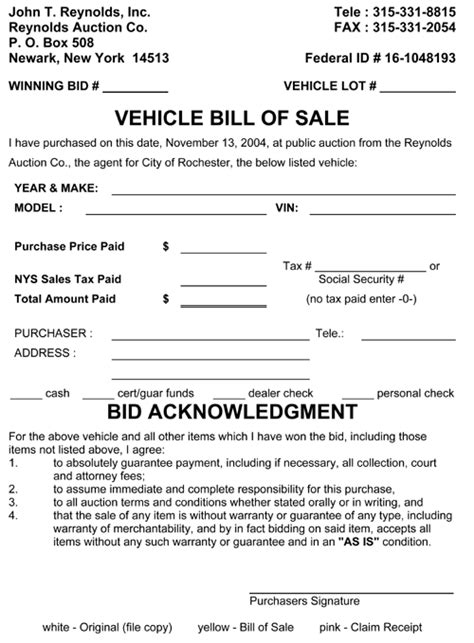 Boat Bill Of Sale New Hshire by Car Bill Of Sale Ny Pertamini Co