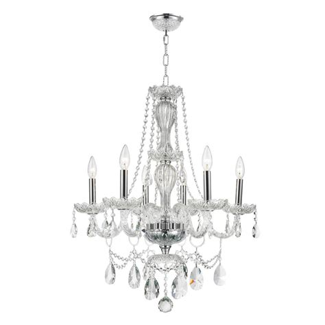 clear glass chandelier worldwide lighting provence collection 6 light polished