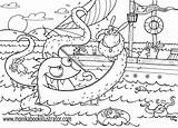 Coloring Sea Printable Monster Monsters Sheets Adults Clipart Ocean Creature Popular Detailed sketch template