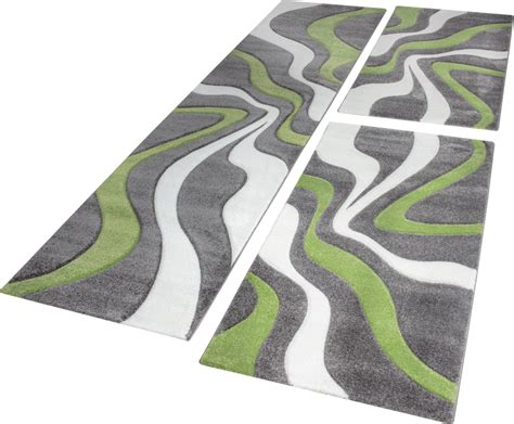 tapis poil beige designer rug bedroom runners with contour cut wave pattern in grey green carpets bed