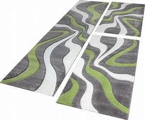 Teppich Bettumrandung 3 Teilig : l uferset teppich wellen muster gr n creme design teppiche ~ Bigdaddyawards.com Haus und Dekorationen