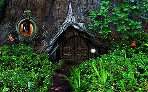 Hobbit fantasy forest trees house home wallpaper ...