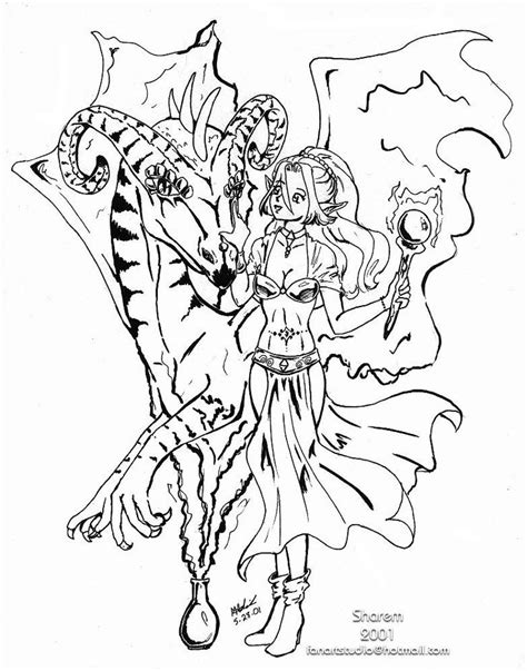 anime girl elf coloring pages sketch coloring page