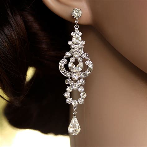 rhinestone chandelier earrings bridal earrings deco