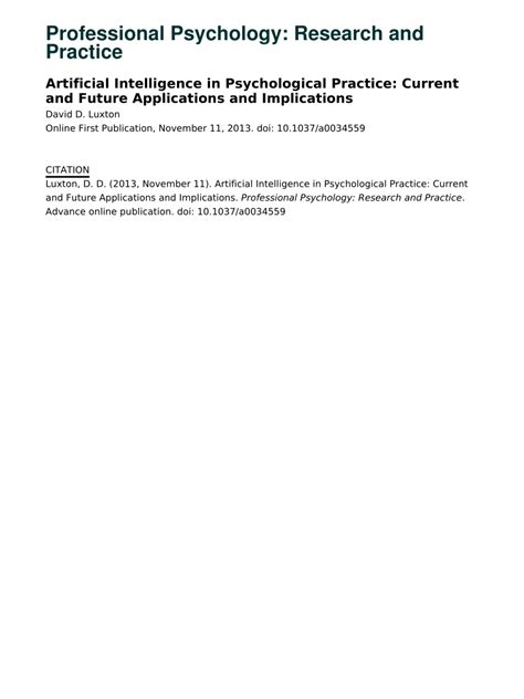 (PDF) Artificial Intelligence in Psychological Practice