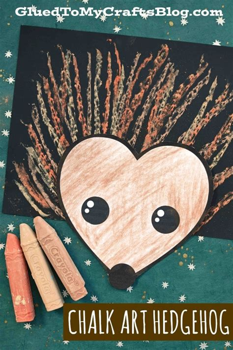 paper chalk art hedgehog kid craft glued   crafts
