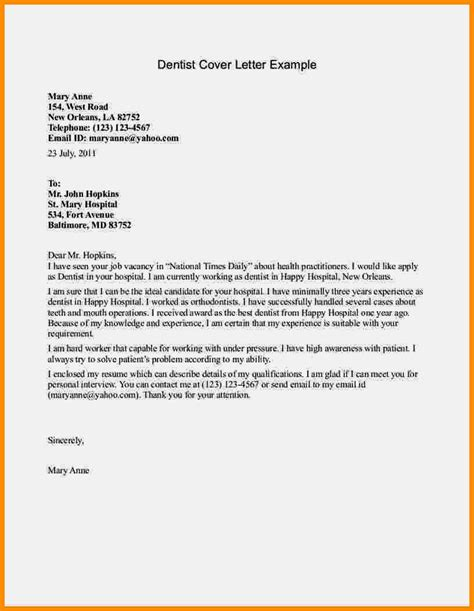 Cover Letter Templates For Resume by Cover Letter Exles For Dental Receptionists Resume