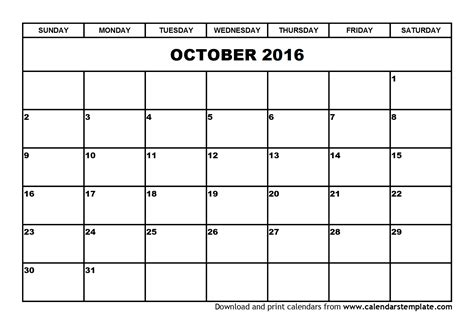 free calendar templates october 2016 calendar template
