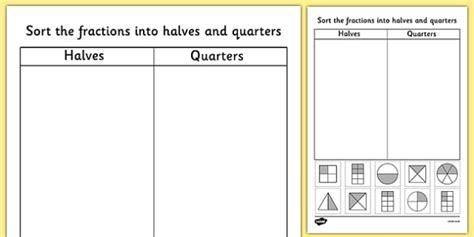 Halves And Quarters Sorting Worksheet