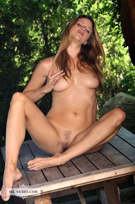 the horny blonde monica sweetheart exposes great tits and trimmed pussy outdoor
