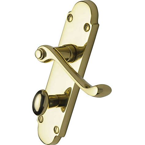 Bathroom Door Handle With Lock Bathroom Lever Lock Door Handle Polished Brass 1 Pair