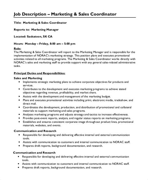 Marketing Coordinator Description And Duties by Sle Marketing Coordinator Description 9 Exles In Pdf Word