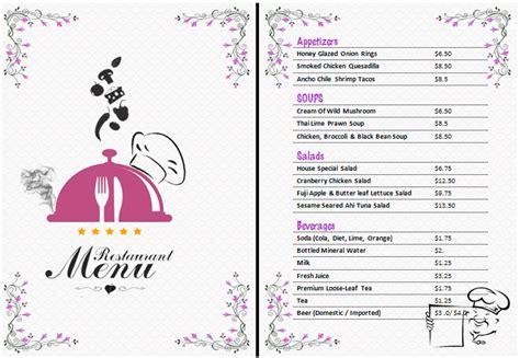 ms word restaurant menu office templates