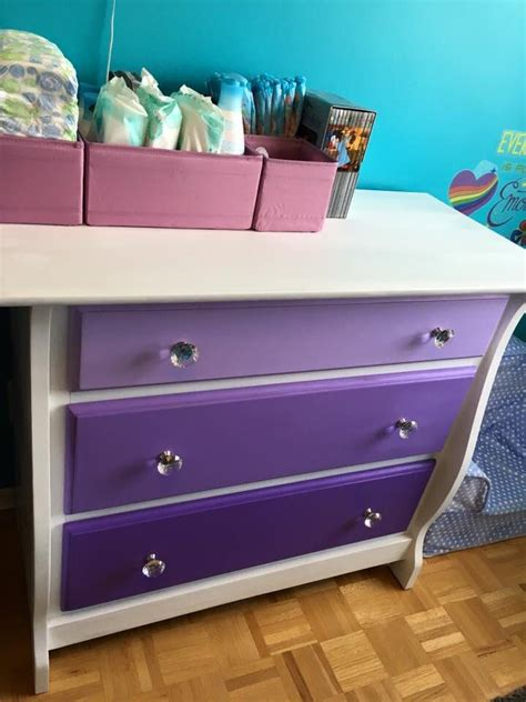 ikea pink and white dresser diy ombré white and purple dresser matrix glass knobs
