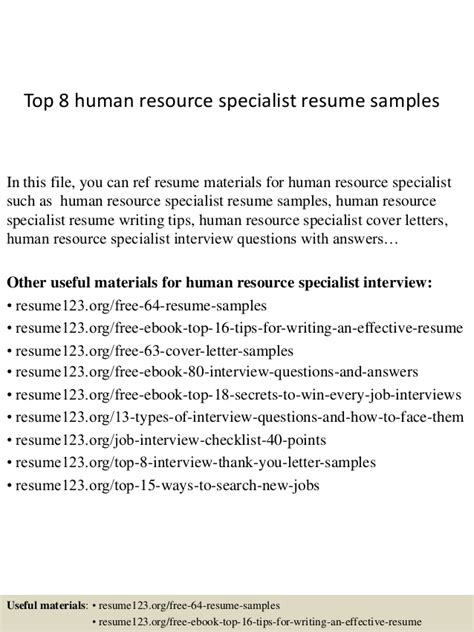 resume for human resources specialist top 8 human resource specialist resume sles