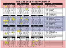 Thailand 2018 2019 Holiday Calendar