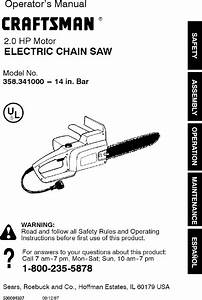Craftsman 358341000 User Manual Chainsaw Manuals And