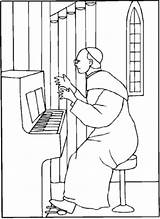 Organ Church Coloring Pope Playing Music Printable Print sketch template