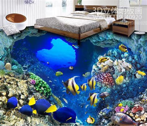 custom hd  flooring tropical fish wallpaper  floor