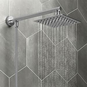 Milan, 200mm, Slim, Rainfall, Shower, Head, With, 1, 25m, Flexible, Hose