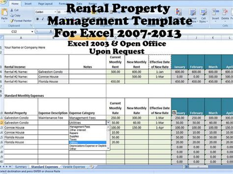 Rental Income And Expense Excel Spreadsheet, Property