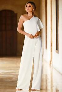 Eleganter Jumpsuit Hochzeit : one shoulder ruffle jumpsuit color crush abendkleid kleider hosen ~ Frokenaadalensverden.com Haus und Dekorationen