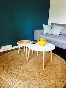 carrelage design tapis rond jonc de mer moderne design With tapis jonc de mer avec canapé cuir bleu
