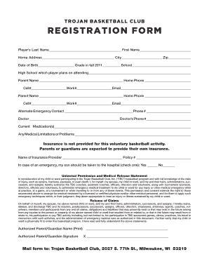 basketball application form fill printable fillable blank pdffiller
