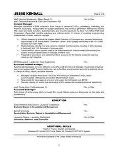 resume objective hotel restaurant management restaurant manager resume resume format