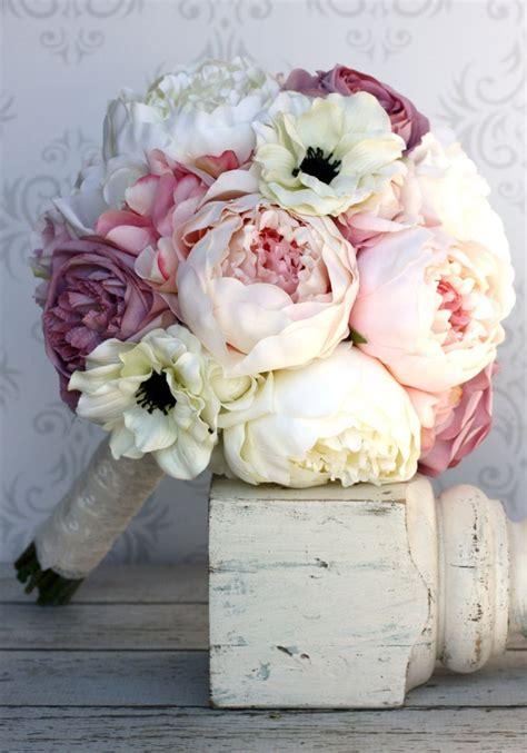 shabby chic wedding bouquets silk bride bouquet peony flowers pink cream purple shabby