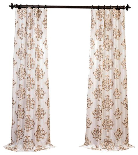 ankara white embroidered faux silk taffeta curtain single
