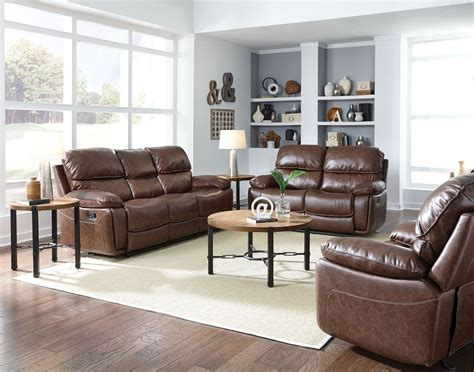 colson red brown reclining living room set  standard