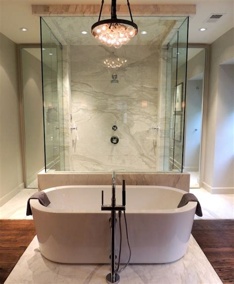 tub in front of shower design ideas