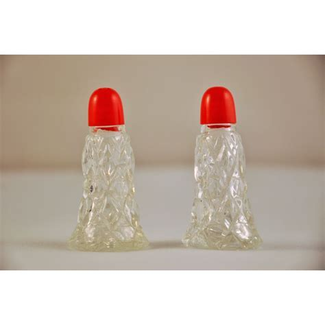 Miniature Salt Pepper Shakers Vintage Pressed Glass Red