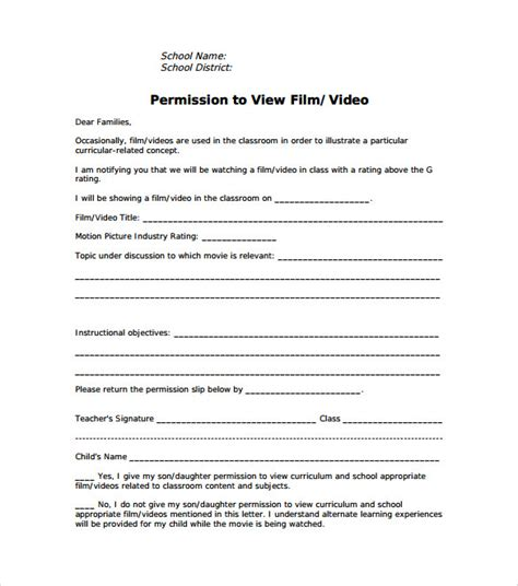 permission slip template 15 permission slip sles sle templates