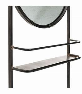 Miroir Metal Noir : tag re mural en m tal noir et miroir rond vintage ~ Teatrodelosmanantiales.com Idées de Décoration