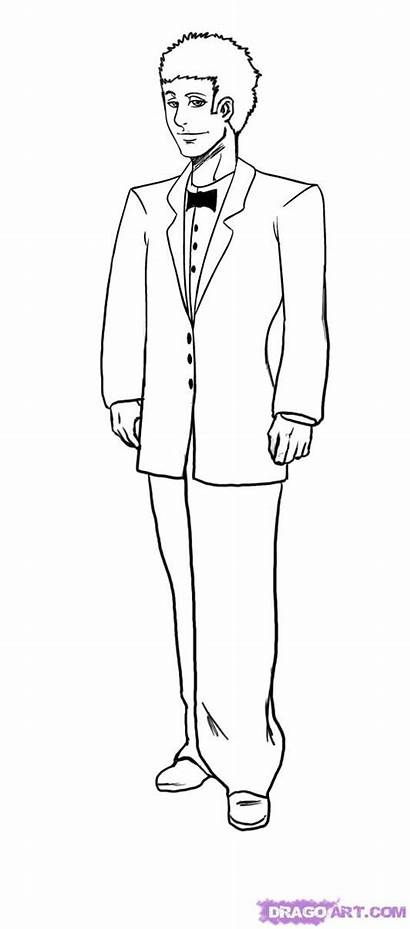 Groom Drawing Draw Tuxedo Step Outline Pages