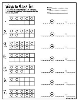 tens frame equations and missing numbers by emily hutchison tpt