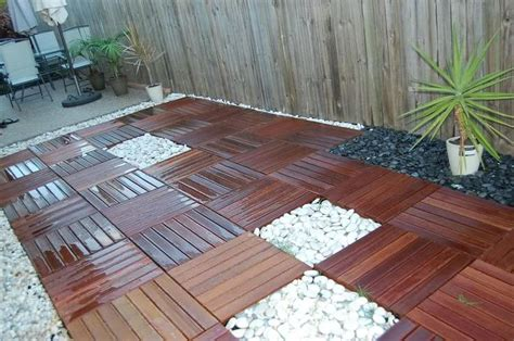 how to create a beautiful wood tile patio deck on a budget